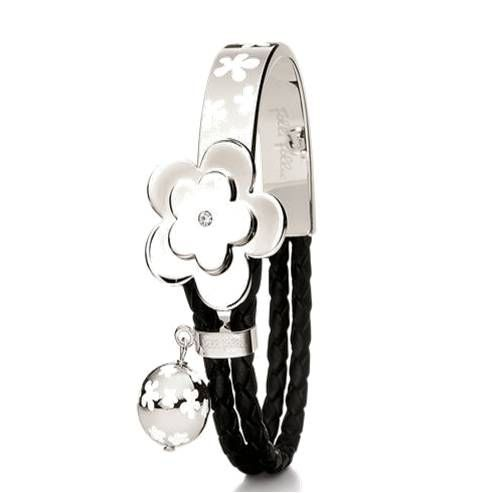 $24.95 for Beautiful .925 sterling silver and black leather bangle adds a playful yet elegant touch to your wardrobe. A round CZ set on a flower top perfectly adorns the complete wristband design