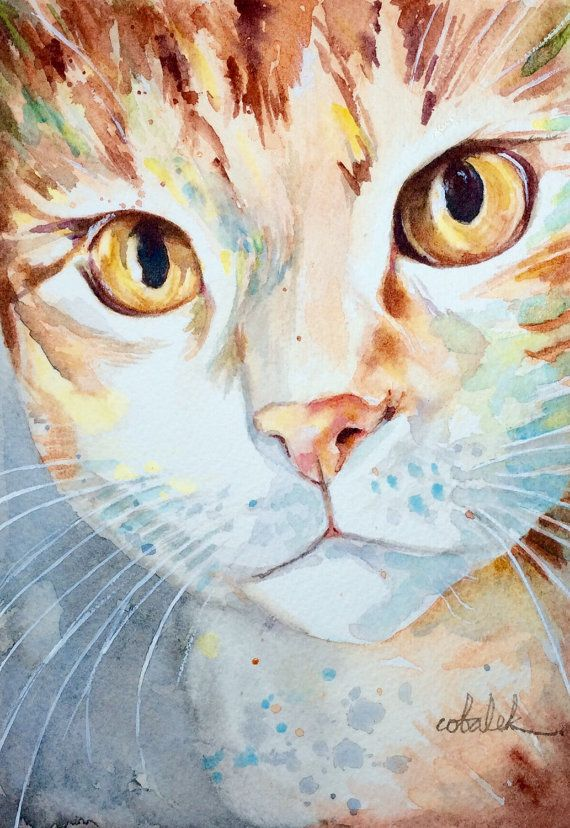 Ginger Tabby Cat Orange marmalade cat Painting by ChristyObalek