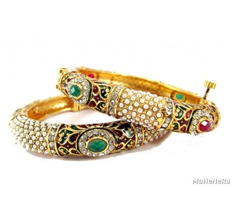 Muhenera wedding collection gold plated multicolor polki pearl 2pc screw bangle - Fashion Jewelry