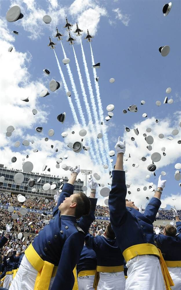 msn.com  Cadets toss their caps and cheer at the end of the Air Force Academy graduation ceremony on May 25 in Colorado Springs, Colo., as the U.S. Air Force Thunderbirds fly overhead. I got to see this in person as a child at my cousin's graduation (when my Daddy was stationed in Co Springs)
