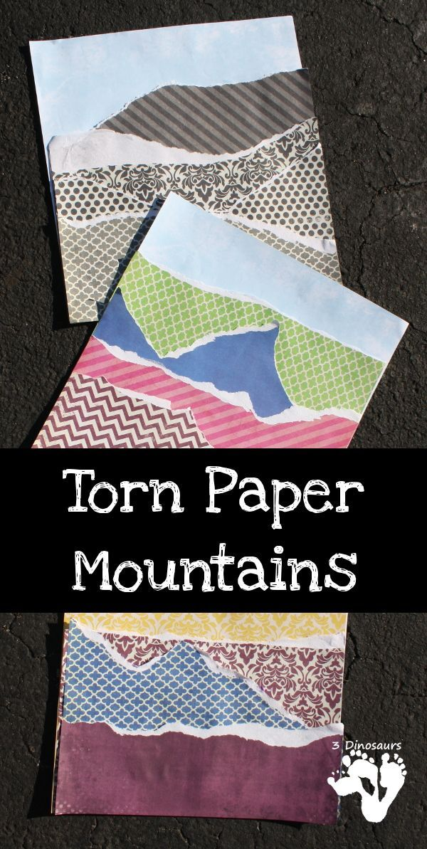 Torn Paper Mountains - fun paper craft for kids to do - 3Dinosaurs.com