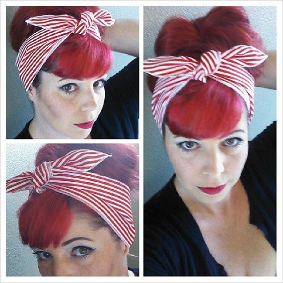 Red and White Stripes one sided WIDE Headwrap Bandana Hair Bow Tie 1950s Vintage Style - Rockabilly - Pin Up - For Women, Teens