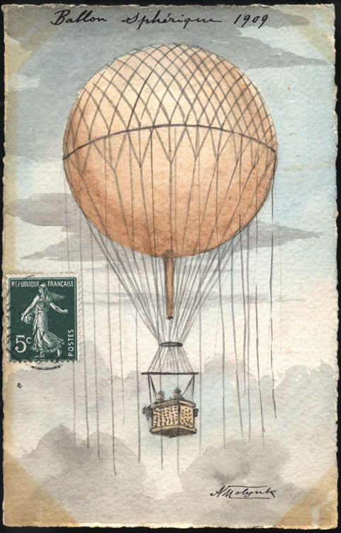 The main reason why the spherical hot air balloon fell out of fashion was that new gas balloon dirigible had longer flight times and could be steered. Despite the superiority of the dirigible, the spherical hot air balloon remains the emblem of lighter-than-air flight. #ballooning, #hotairballoons, #postcards, #France
