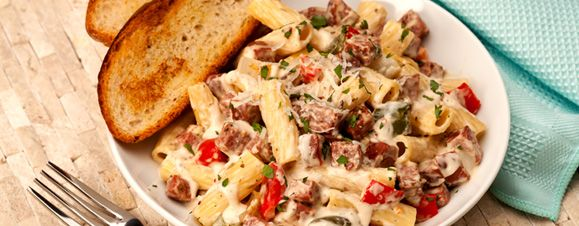Rigatoni Alfredo w/Summer Sausage and Roasted Peppers