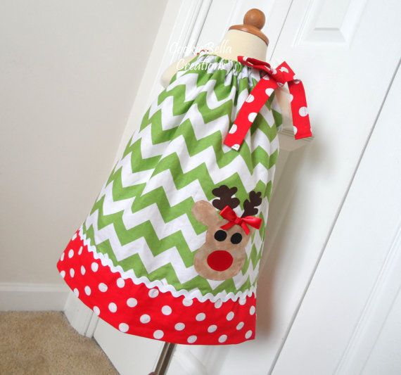 Christmas Reindeer Red & Green Chevron Pillowcase Dress 6m-4T on Etsy, $26.00