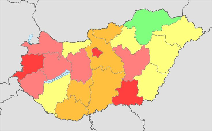 Hungary total fertility rate by region 2014 - light green: 1.7 - 1.9 ; yellow: 1.5 - 1.7 ; orange: 1.4 - 1.5 ; pink: 1.3 - 1.4 ; red:  < 1.3