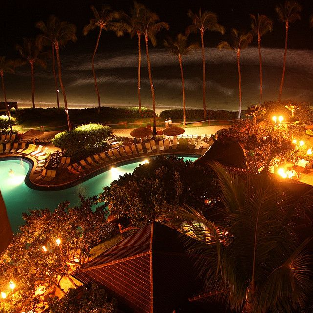 Maui Hyatt at night