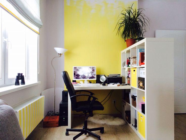 Желтая гостиная+кабинет, сделали в октябре 2014. Эта часть - кабинет