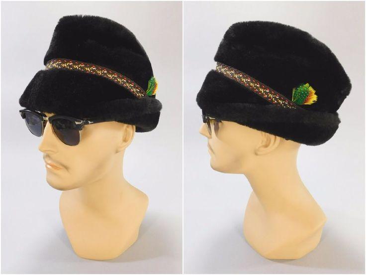 1960's Vintage, Black Fur Alpine Trachten Bavarian Style High Peak Winter Cap #Unbranded #Fedora