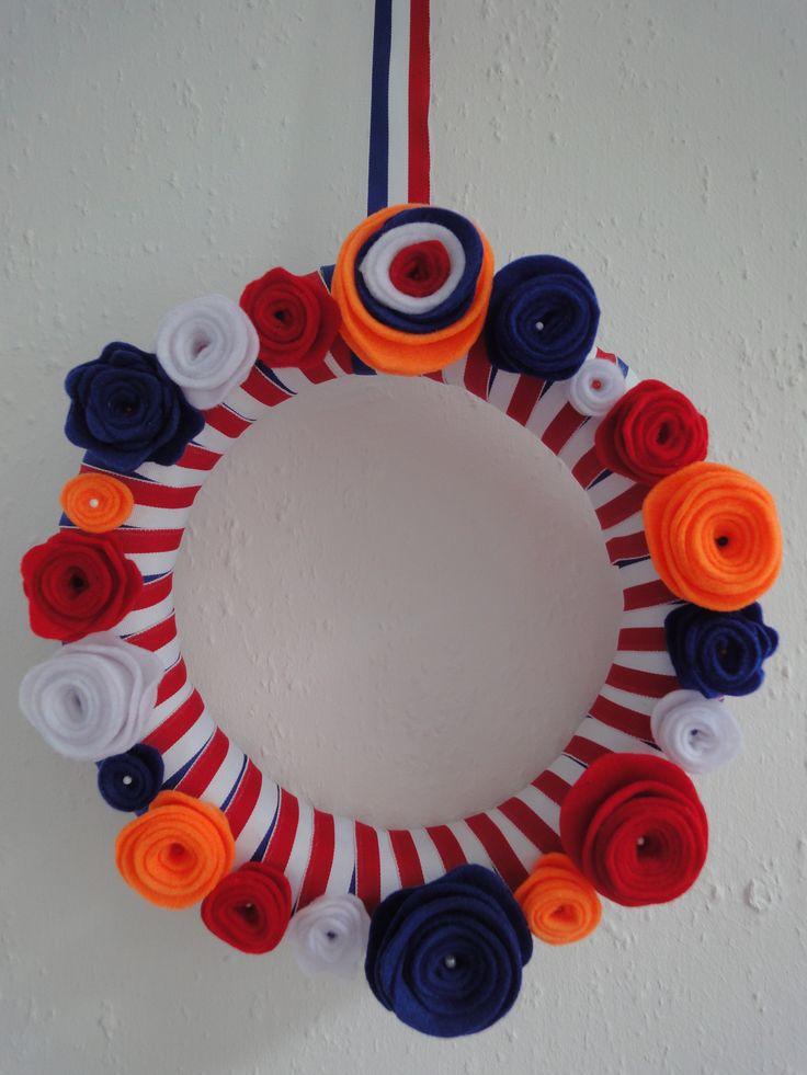 Koningsdag krans! Natuurlijk ook te gebruiken tijdens 4-5 mei, EK, WK en Olympische spelen. Of gewoon als je van Nederland houdt!