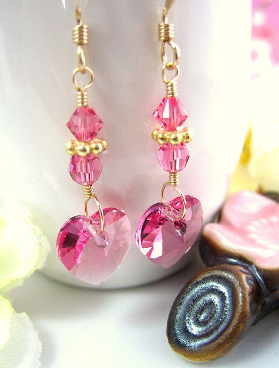 Valentine Rose Pink Swarovski crystal Heart Earrings by KBlossoms, $29.00