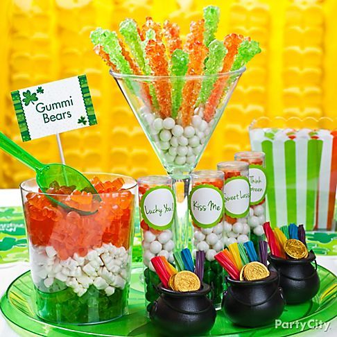 Make a blarney-licious mini candy buffet  for St. Patty's Day in the colors of the Irish flag.