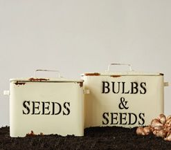 Bulbs and Seeds Metal Box Set, Vintage Style Nesting Herb Crates, French Farmhouse White and Terra Cotta Bowl, Yellow Ware Mixing Bowls, Mustard Stoneware, Glass Jar Firefly String Light, Creamware Sugar and Creamer Set, Vintage Style Enamel Storage Containers, Vintage Industrial Style Hardware Bin, Bakersfield Wood and Metal Display Pedestals, Wire Storage Baskets with Lids, Vintage Industrial Style Hardware Bin Lazy Susan, Wire Shelf with Coat Hooks, Screen Food Cover Cloche, Feedsack…