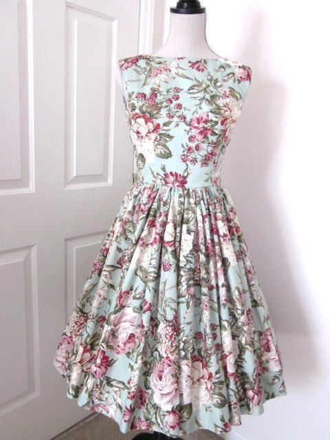 Charming Floral and Berry Tea Dress 1960s Style by TenderLane, $159.00