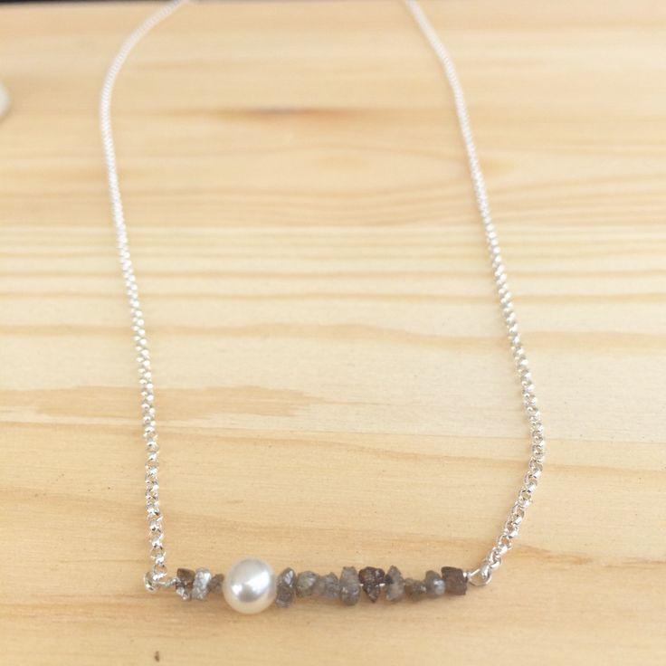 Emilio Sotelo Handmade Jewelry   Raw Gray Diamonds, Pearl + Silver Rolo Chain (ST.106)