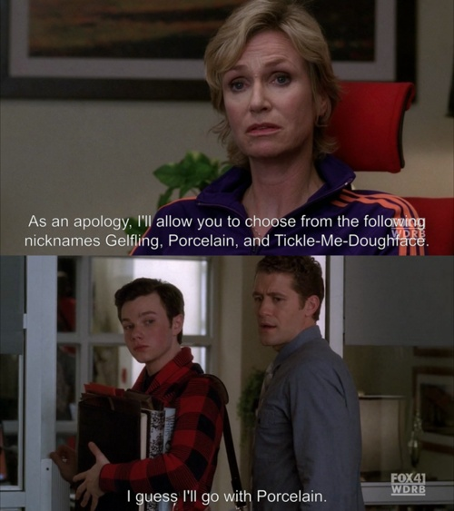 As funny as this part of the scene is, Kurt brings up a really good point when he tells Sue that calling him names based on his orientation and gender expression is bullying-even if she didn't mean to hurt his feelings.