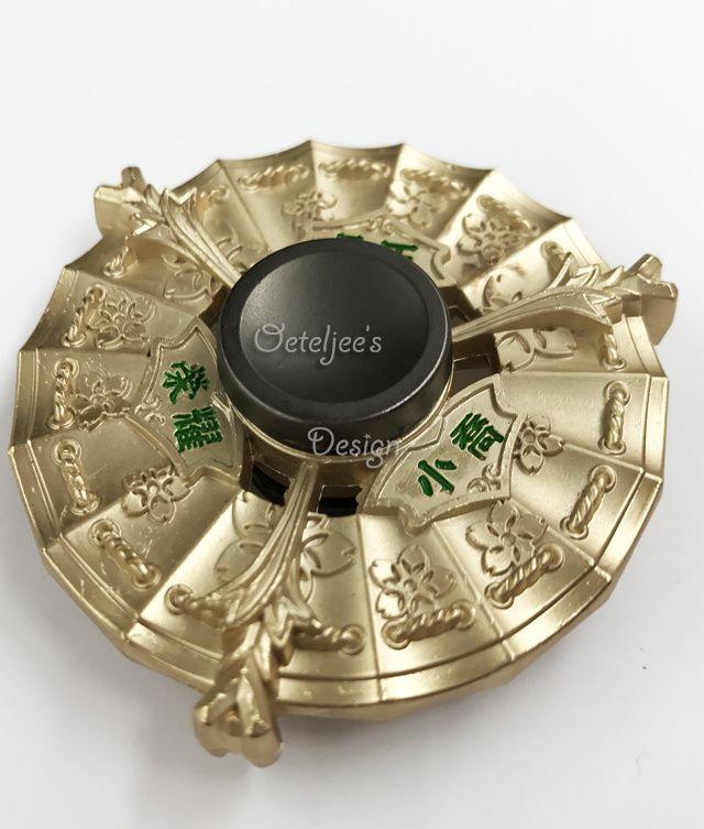 Fidget hand spinner metaal goud bloem motief