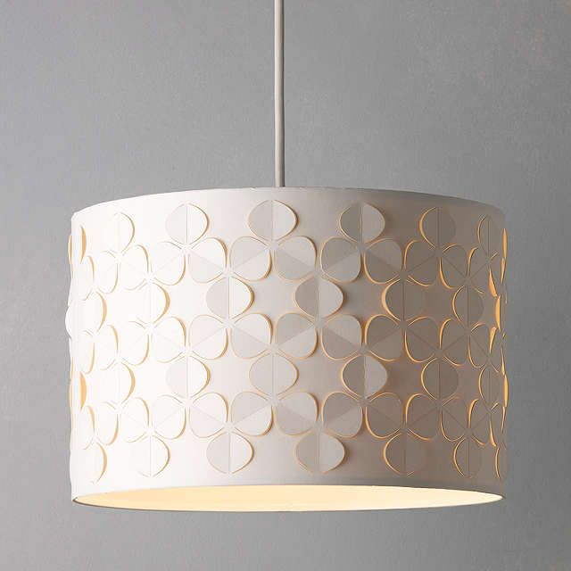BuyJohn Lewis Clara Cutwork Drum Shade, White, Dia.30cm Online at johnlewis.com