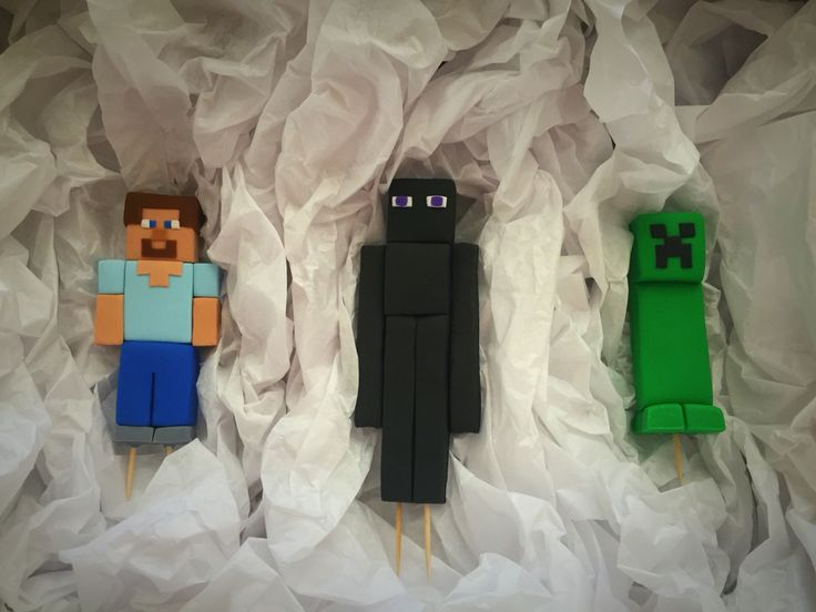 Minecraft fondant cake toppers: Steve, Enderman, and Creeper