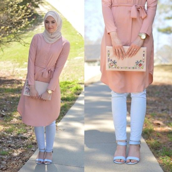 long pastel tunic, Classy hijab outfits http://www.justtrendygirls.com/classy-hijab-outfits/