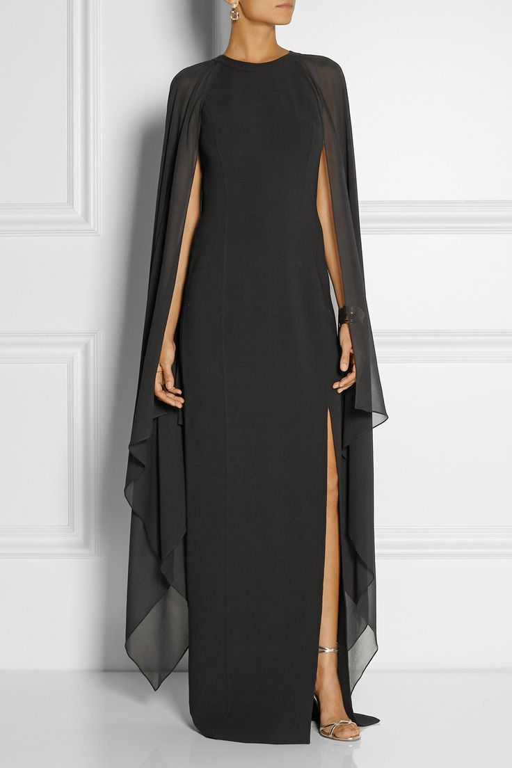 Michael Kors|Stretch-wool and silk-georgette gown|NET-A-PORTER.COM