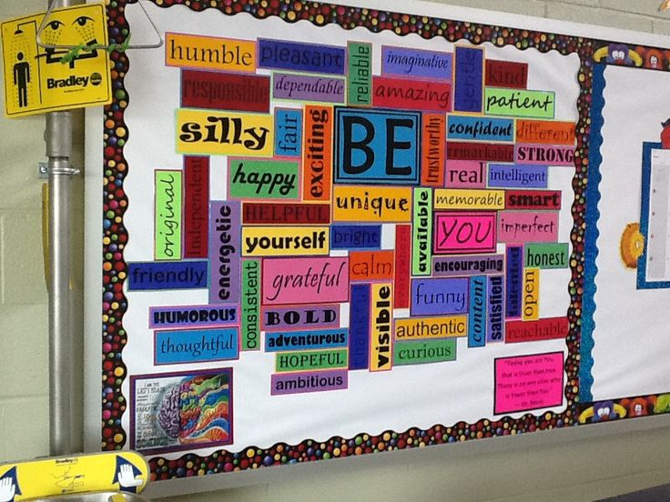 Bulletin board Word Wall - Design bumper sticker describing something positive about yourself for our Be Board