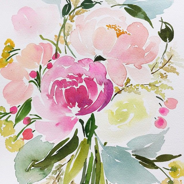 I have been scrambling to get all of the projects  done and clothes packed for our trip to china all week...we leave tomorrow morning and I honestly cannot wait to get on that plane! It's our first time back since we were married last June, can't wait!  here's one of the watercolors I recently finished of a bride's bouquet, love that pop of pink in all of those pastels! #commissioned #watercolor #yaochengdesign