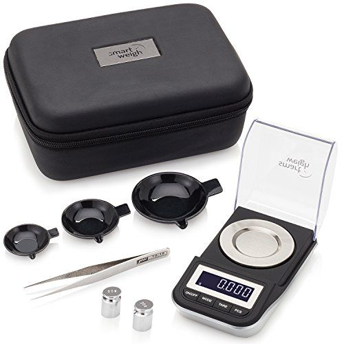 Smart Weigh Premium High Precision Digital Milligram Scale with Case, Tweezers, Calibration Weights and Three Weighing Pans, 50 x 0.001g - High Precision Milligram Scale This Smart Weigh scale is a beautiful and convenient addition to your home. It is extremely precise and is great for weighing finer items such as gold, jewelry, powders or medications! Using your new Smart Weigh Scale First Use: When you are ready to start weighing ...