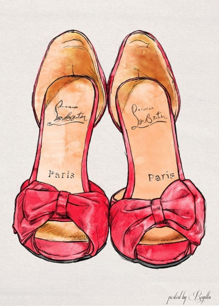Louboutin, red bow heals, illustration sketch art.