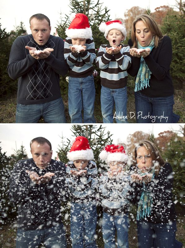 blowing snow family photo