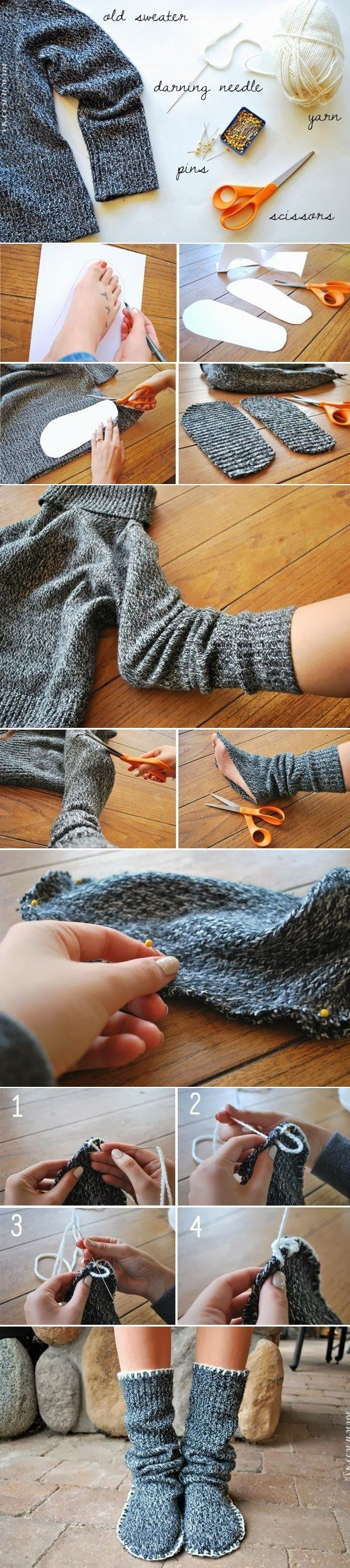 DIY Insulated Socks From Old Sweater… …