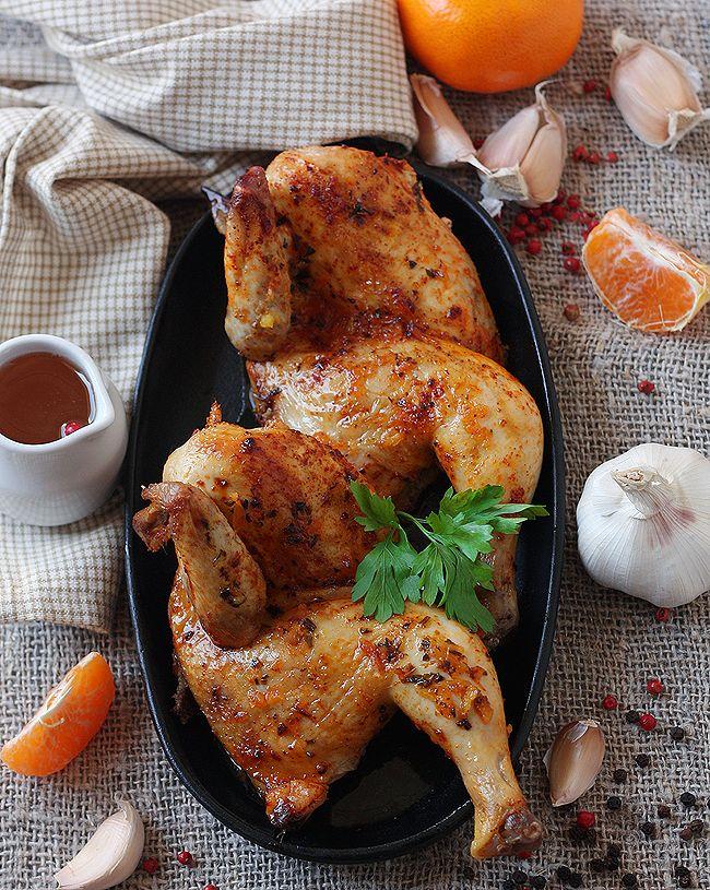 Цыпленок под имбирно-мандариновым соусом с мёдом и травами