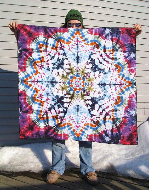 Bohemian Skies Tapestry  - Tie Dye Hippie Wall Hanging  42 x 44 OOAK
