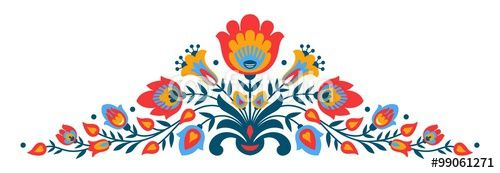 Vector: Polish folk papercut style flowers