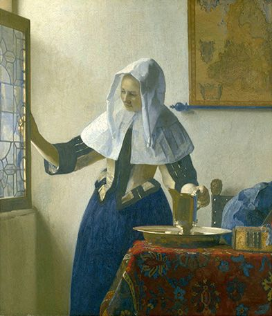 Young Woman With A Water Pitcher (Vrouw met waterkan)-Vermeer  c. 1664-1665  oil on canvas: Young Woman, Art Johannes Vermeer, Oil On Canvas, Art Inspiration, Young Women, New York, Water Pitchers, Metropolitan Museums, Inspiration Design