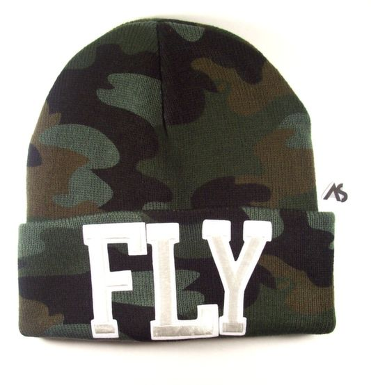 Ashlei Shannon FLY Beanie - White On Camouflage. Shop Winter Beanies.