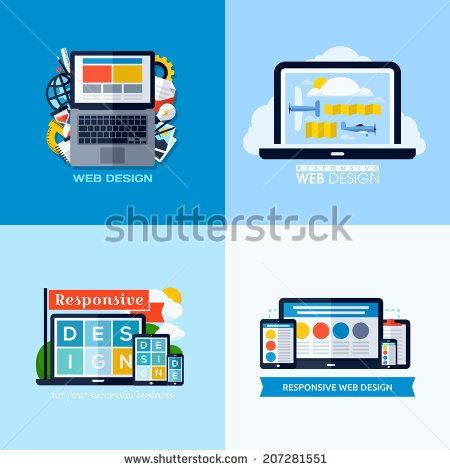 Modern flat vector concepts of responsive web design. Icons set for websites, mobile apps and printed materials