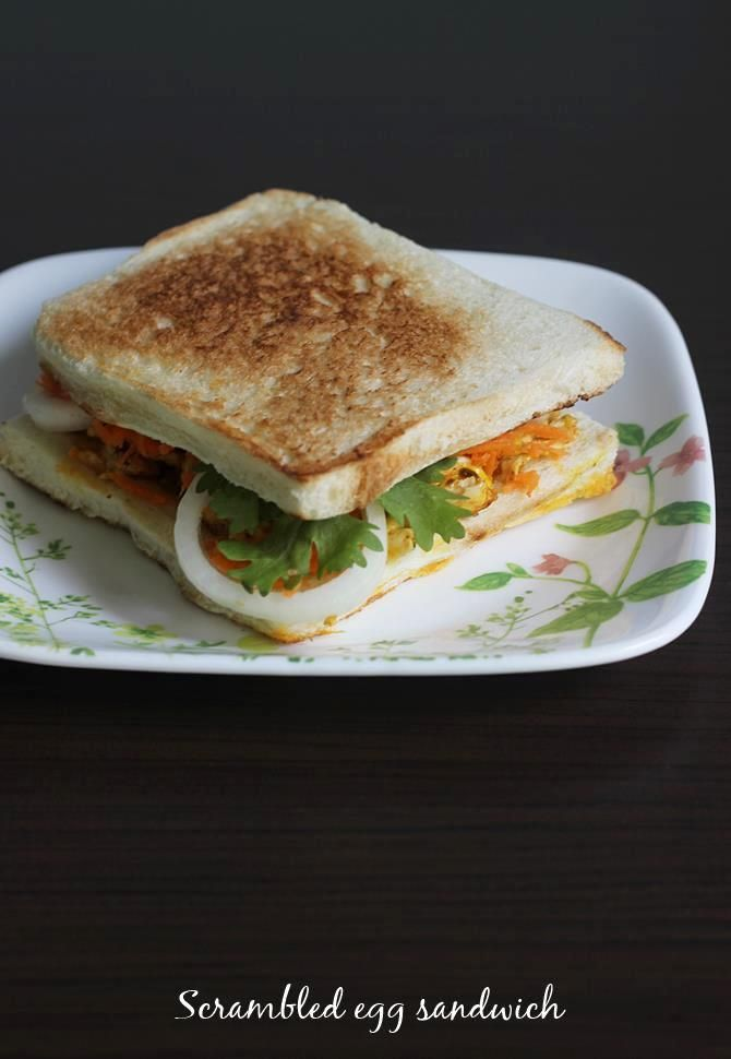 egg bhurji sandwich recipe with basic ingredients.Scrambled eggs, bread, veggies make a healthy breakfast, made under 10 minutes