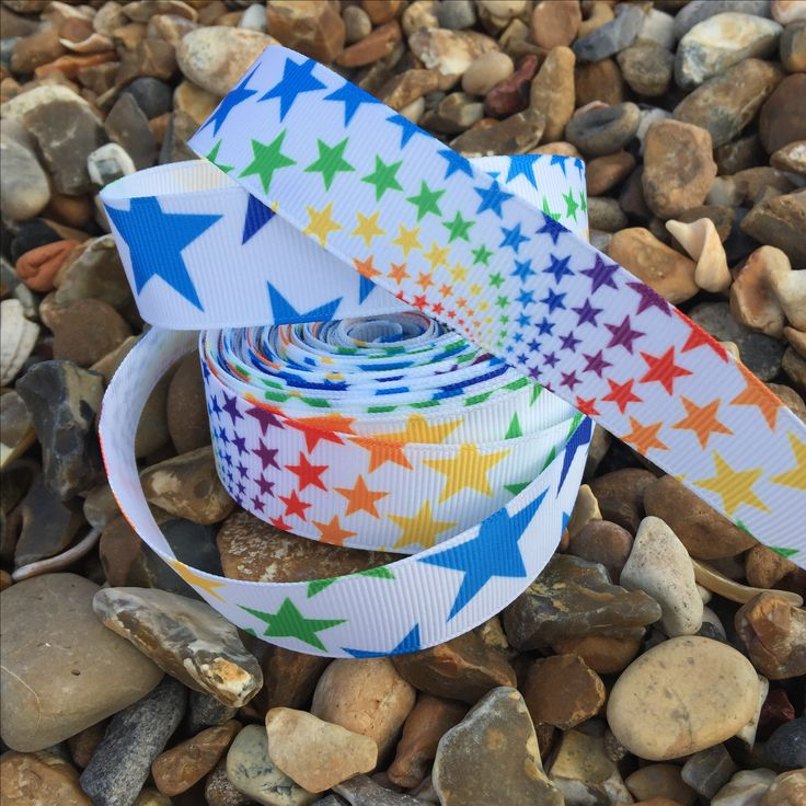Bright beautiful star ribbon. 🌈⭐️ 65p per metre. Available on the website www.mrsbellesboutique.co.uk