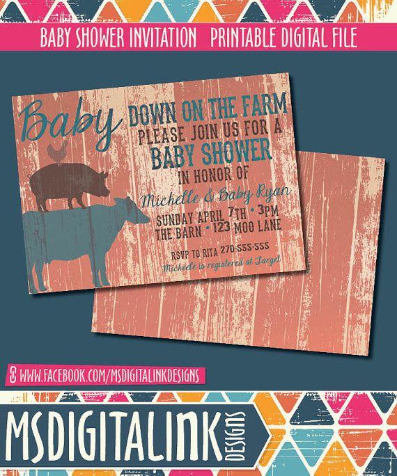 Farm Baby Shower Invitation  Printable by msdigitalinkdesigns