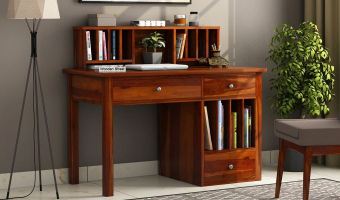 Buy Cassidy Study Table Honey Finish Online In India Wooden