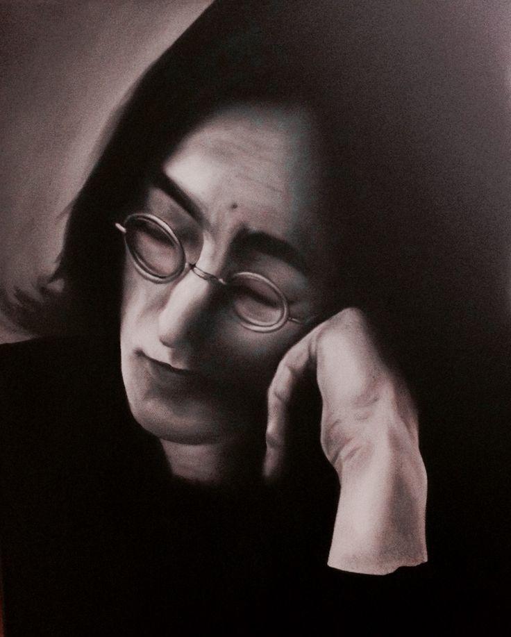 Oil painting of John Lennon, 40 x 50 cm, 2016 Mirjam Kämmerer