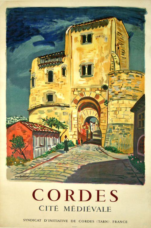 Affiche Cordes  Cité Médièvale   Circa 1960   Yves Brayer