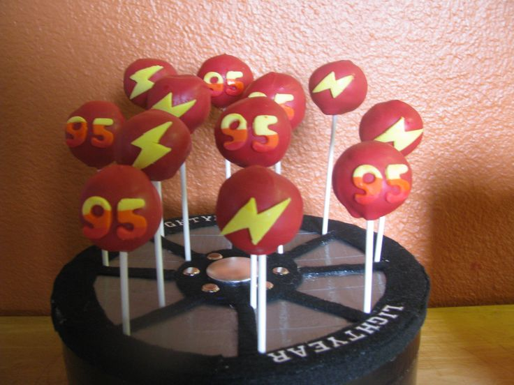 Cars cake pops in my custom candy/cakepop stand by three little cupcakes