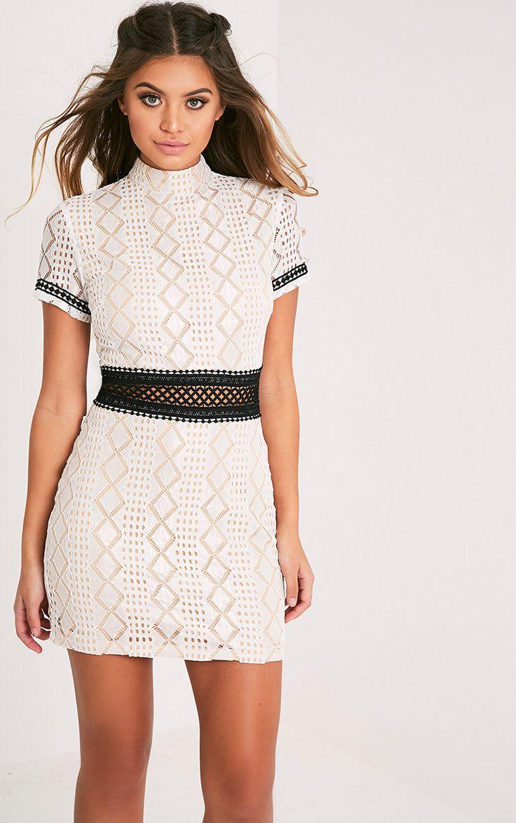 Rakeesha White High Neck Crochet Lace Bodycon Dress