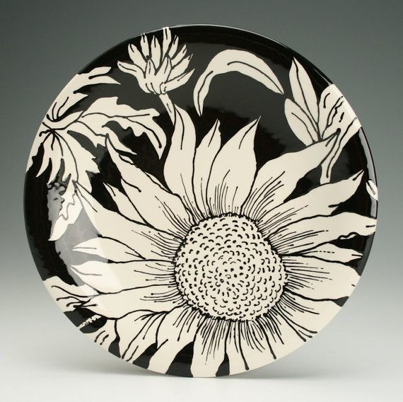 """Dinner Plate 10"""" Sunflower Hand Painted Round Coupe Dinnerware Black and White"""