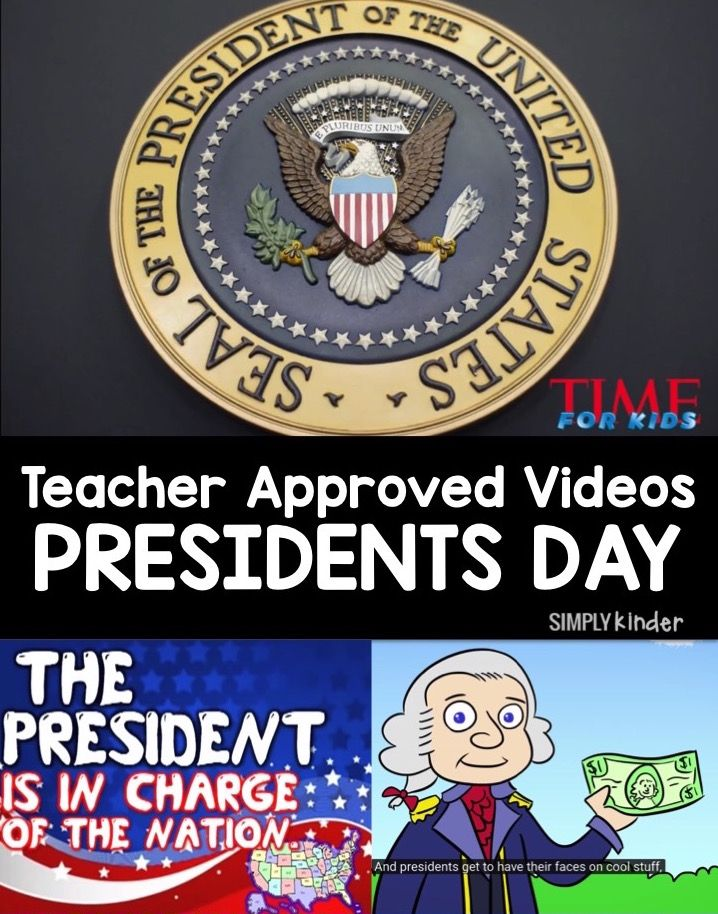 Teacher approved list of Presidents Day videos for preschool, kindergarten, and first grade students from Simply Kinder.