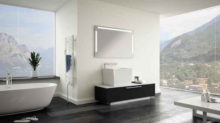 Modernes Bad mit Lichtspiegel. Spiegel nach Maß gibt es bei www.mybadspiegel.com