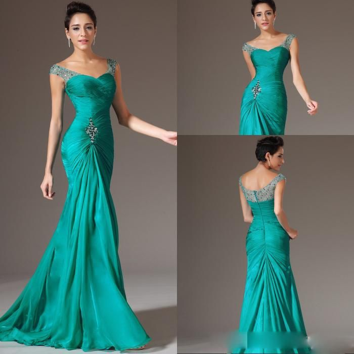 Wholesale Evening Dresses - Buy Wholesale - Best Selling Mermaid V-neck Floor Length Turquoise Chiffon Cap Sleeve Prom Dresses Beaded Pleats Discount Prom Gowns Formal Even, $68.07 | DHgate