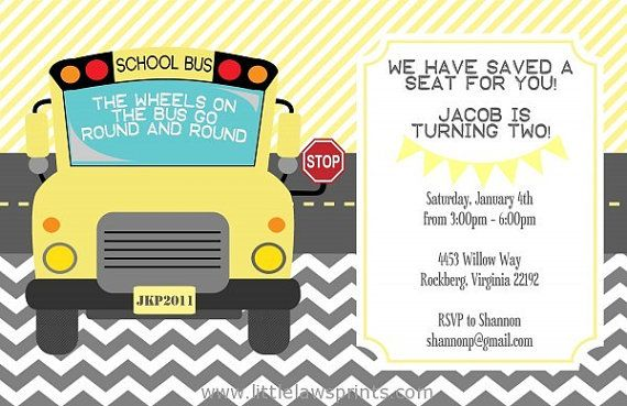Wheels on the Bus Invitation by LittleLawsPrints on Etsy, $25.95